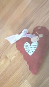 Primitive Valentine Sday Red Heart Wall Hanging W Rusty Pin Buttons 3