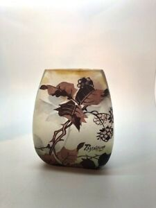 Peynaud French Art Nouveau Glass Vase Wth Cameo Blackberry Thistle Design
