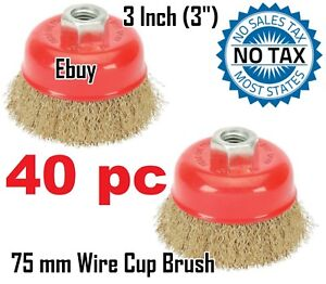 40 Wire Cup Brush Wheel 3 75mm For 4 1 2 115mm Angle Grinder Fine Crimped
