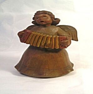 An Old Italian Carved Wood Angel Music Box T1