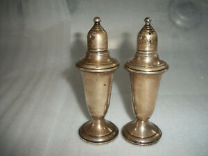 Vintage Pair Empire Weighted Sterling Silver Salt Pepper Shakers 241