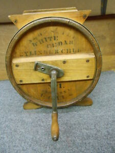 Antique Wood Round Stenciled Butter Churn