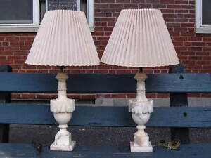 Pair Of Huge Vintage Neoclassical Alabaster Carved Marble Table Lamps 34