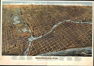 Wi32 Antique Old Panoramic Map Wisconsin Genealogy Family History Milwaukee 1872