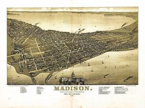 Wi27 Antique Old Panoramic Map Wisconsin Genealogy Family History Madison 1885