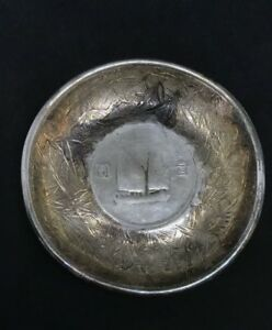 Antique Chinese Export Silver Solid Bamboo Dish Tray Junk Boat Dollar Coin