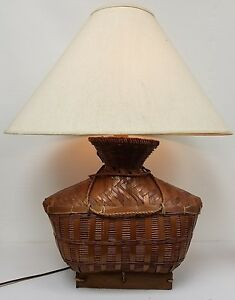 Large Vintage Mid Century Wicker Lamp Basket Wood Table Base