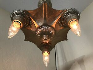 Vintage Antique Art Deco 3 Light Fixture Metal Chandelier 4