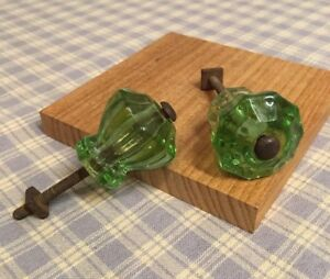 2 Antique 10 Points Emerald Green Glass Cabinet Knob Drawer Pulls 1 1 8 X1 1 8