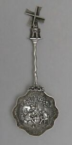 Antique Dutch Silver Moveable Windmill Pierced Serving Spoon