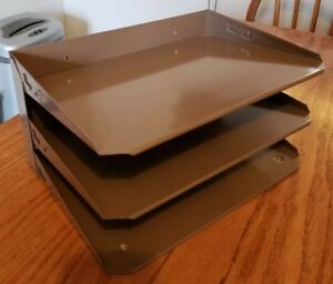 Vintage 3 tier Metal File Tray Desk Organizer Office Industrial In out euc