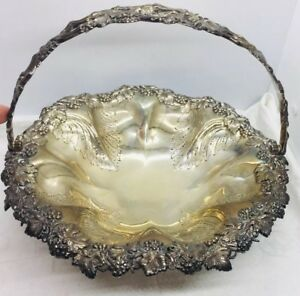 Antique English Georgian Sterling Silver Grape Vine Handled Basket Bowl 24toz