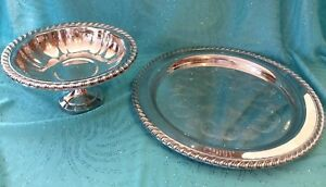 Vintage Oneida Silverplate Set 10 Round Tray And 6 Pedestal Compote Excellent