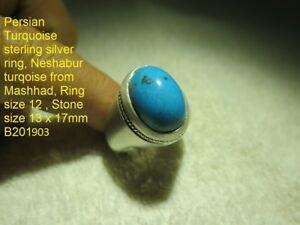 Persian Turquoise Handmade Sterling Silver Ring Stone 13 X 17 Mm Ring Size 12