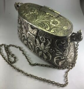 Antique French 800 Sterling Silver Cocktail Evening Purse W 30 Strap