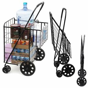 Double Basket Flat Folding Shopping Cart W Swivel Wheels Foldable Easy Storage