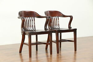 Pair Mahogany Finish Antique Banker Desk Office Or Library Chairs A 30472