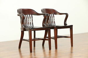 Pair Mahogany Finish Antique Banker Desk Office Or Library Chairs C 30475