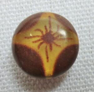 Antique Button Diminutive Round Celluloid Over Metal Spider In Web