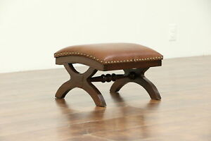 Victorian Antique 1880 Walnut Foot Stool Leather Upholstery 30465