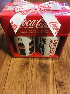 Ceramic Coca-Cola Mugs With Mini Pretzels. Collectible