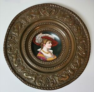 Antique Hand Painted Portrait Plate Mounted In Embossed Copper Frame