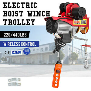 Electric Wire Rope Hoist W Trolley 220lb 440lb Overhead Anticorrosion Brand New