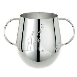 Savane By Christofle Paris Silver Plate Baby Toddler Tumbler Cup W Handles New