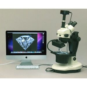 Amscope 3 5x 90x Advanced Jewel Gem Microscope 5mp Digital Camera