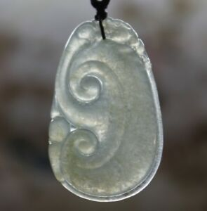 Certified Natural Grade A Untreated Icy Jadeite Chinese Jade Lucky Ruyi Pendant