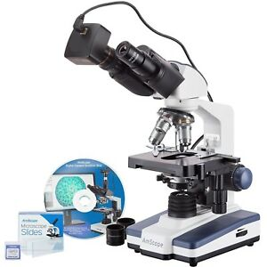 Amscope 40x 2500x Led Binocular Compound Microscope With 50pc Blank Slides And 3