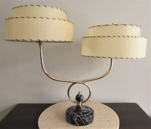 Mid Century Atomic Brass Dual Arm Two Stem Lamp With Fiberglass 2 Tier Shades