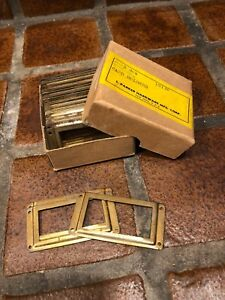 Lot Of 36 Vintage Iron Card File Cabinet Index Label Name Plate Holders Nos