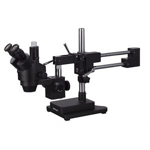 Amscope 7x 45x Trinocular Stereo Zoom Microscope Double Arm Boom Stand