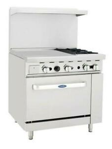 Atosa 36 Gas Range 2 burner 24 Left Griddle 26 Oven Ato 24g2b