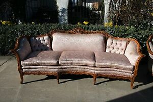 Victorian Renaissance 19th Century Antique Carved Sofa Settee Chair Set Lot