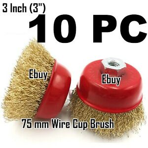 10 Wire Cup Brush Wheel 3 75mm For 4 1 2 115mm Angle Grinder Fine Crimped