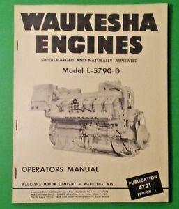 Waukesha Engines Model L5790d Operators Manual Oem