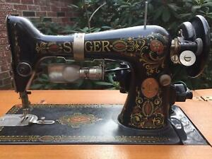 Antique Singer Model 66 Sewing Machine W Solid Wood Cabinet Local Pick Up Only