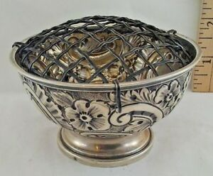 Antique Sterling Silver Bowl Dish English Hallmark Markings Repousse Flowers