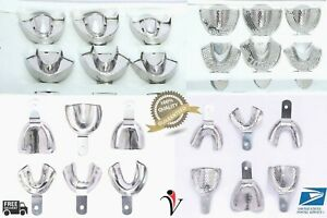 4 Sets Dental Impression Trays Solid perforated 6pcs Set Stainless Steel S m l