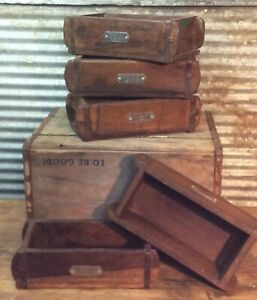 Antique Primitive Lot 5 Wooden Boxes W Wrought Iron Bands Tool Box Cubby W Tags