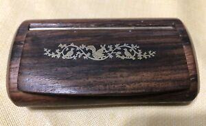 Antique French Inlaid Brass Rosewood Snuff Box Squirrel Birds Motif