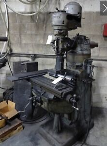 Bridgeport Milling Machine 9 x 42 Table 1hp With Westhoff Aero Drill Attachment