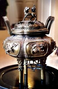 Antique Bronze Incense Burner Chinese Ritual Show Piece