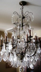 Antique Large French Bronze Cut Crystal Twenty Two Light Exquisite Chandelier