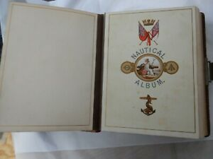 Superb Empty Victorian Leather Bound The Nautical Photograph Album 1880 Era