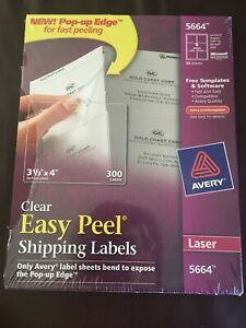 Avery 5664 Clear Easy Peel Shipping Labels Laser 3 1 3 X 4 Box Of 300 Ave5664