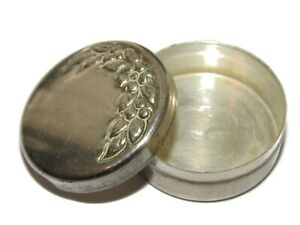 Vintage Sterling Silver Trinket Pill Box Jewelry Ring Keepsake Ornate Floral 925