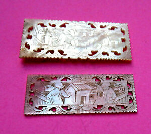 Antique 2 Pearl Pierced Edge Sewing Thread Winders Engraved Figures